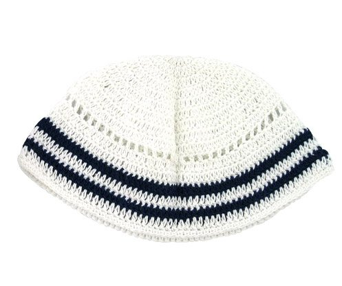 White Frik Kippah with Navy border stripes