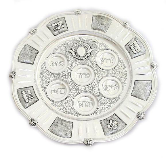 Antique Round Silver Plated Passover Plate