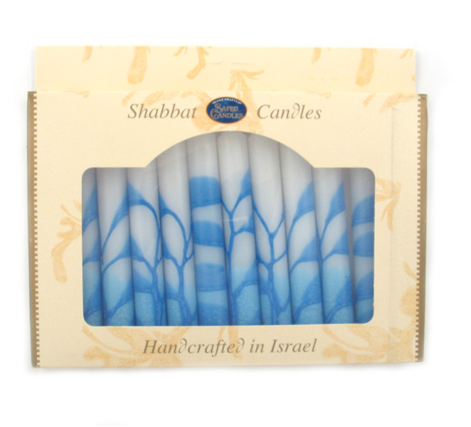 Decorative Safed White and Blue Shabbat Candles
