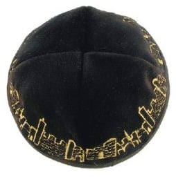 Black Velvet Kippahs with gold Jerusalem design