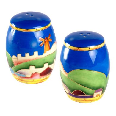 "Cobalt Blue Ceramic ""Jerusalem"" design Salt and Pepper Shakers"