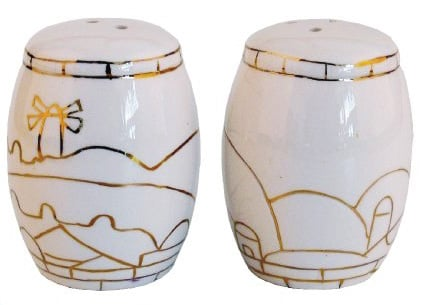 "Ceramic ""Jerusalem"" design Salt and Pepper Shakers"