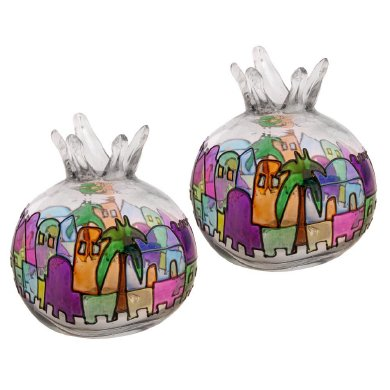 Colorful Pomegranate Jerusalem design Glass Candlesticks