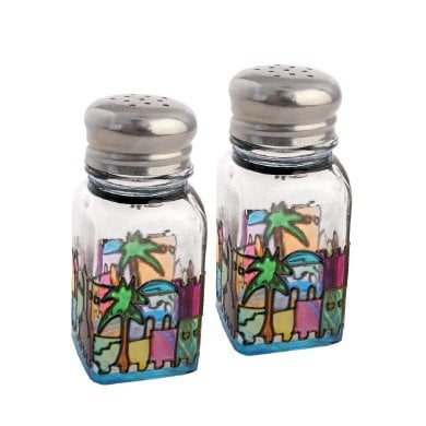 Colorful Jerusalem design Glass Salt & Pepper Shakers