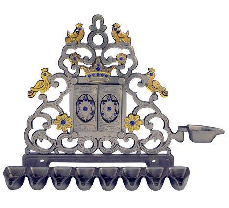 "Nickel and gold plate ""Luchot"" Chanukah Menorah"