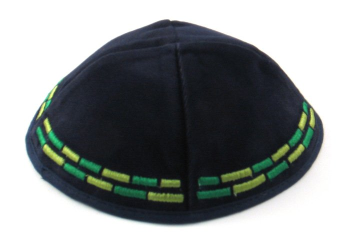Velvet Kippahs with green stripes