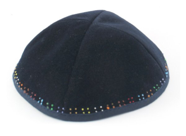Hand Decorated Velvet Kippahs with Colorful border