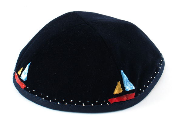 "Hand Decorated ""Sailboat"" Velvet Kippahs"