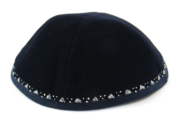 "Hand Decorated ""Diamond"" Velvet Kippahs"