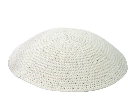 White Thick Knit Kippot 17 CM