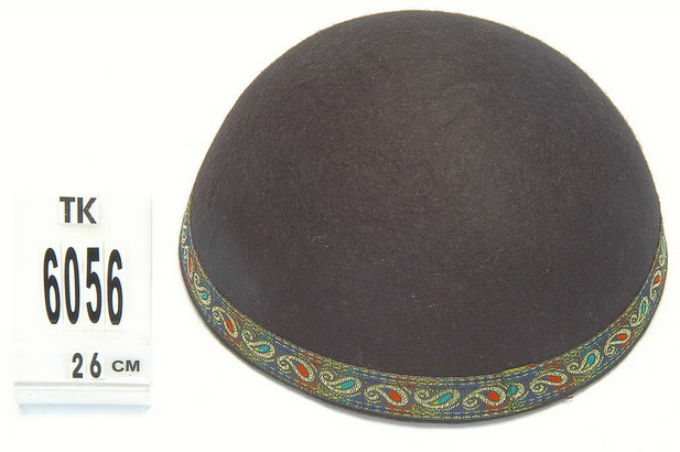 Black Yemenite Kippah with paisley border