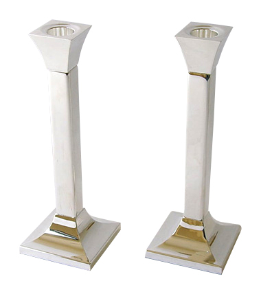 Square silver plated Candlesticks