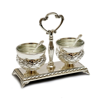 Elegant Silver Plated Salt and Pepper Dish