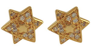Gold Star of David Earrings