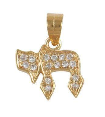 """Gold Zirconium """"Chai"""" Pendant"""