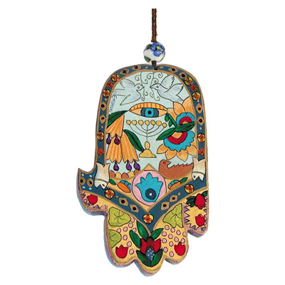Wood Painted Hamsa - Protection against Evil Eye