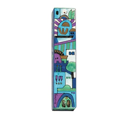 Old City Scene wooden Mezuzah