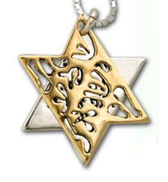 Shema Yisrael Star of David Two-Tone Pendant by HaAri Jewelry