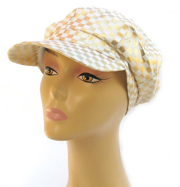 Womens Gold and White Checked Cap
