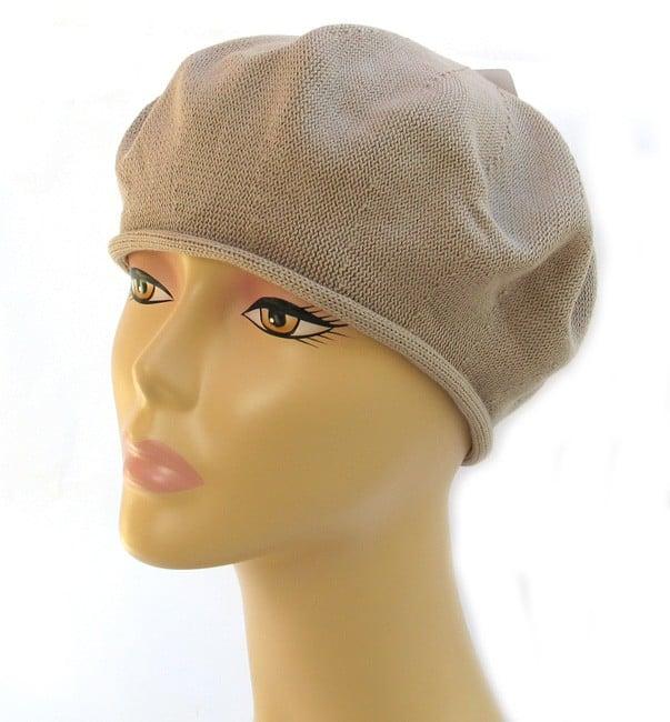 Womens Classic Beige Cotton Beret
