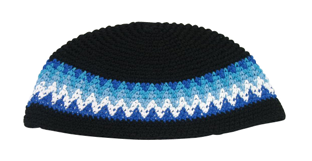 Black Frik Kippah with blue and white stripes