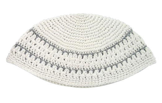 White Frik Kippah with two silver stripes