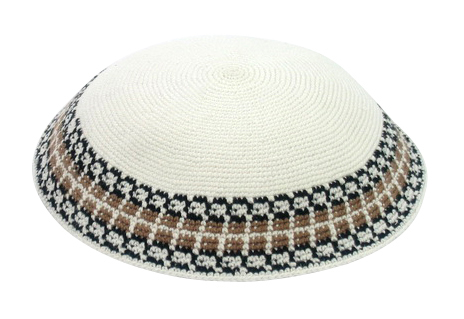 White handmade Knit Kippot with beige and black border