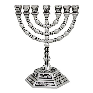 Silver Twelve Tribes 7 Branch Menorah