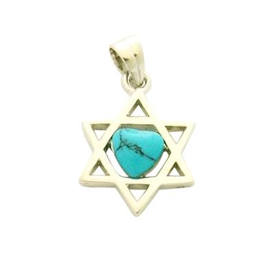 Rhodium Plated Turquoise Star of David Pendant