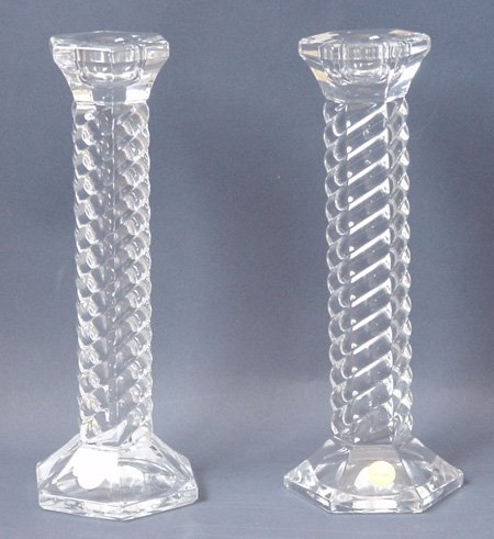 Glass Spiral Design Candlesticks