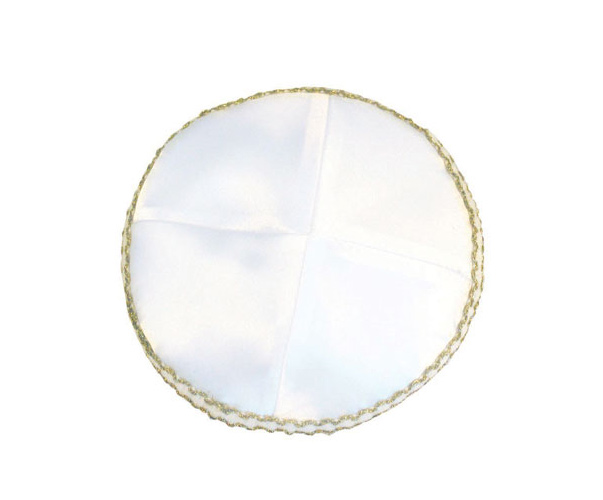 White Satin Kippah with gold edge