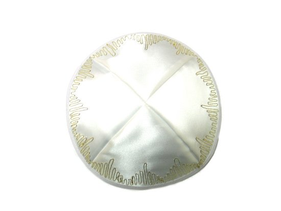 White Satin Kippah with gold loop border