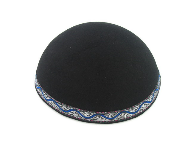 Yemenite Kippah with blue and silver border design