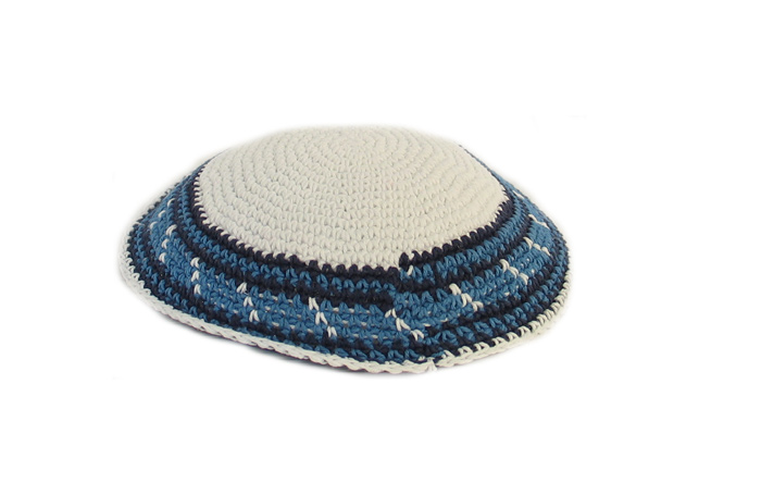 White Knit Kippot with blue border