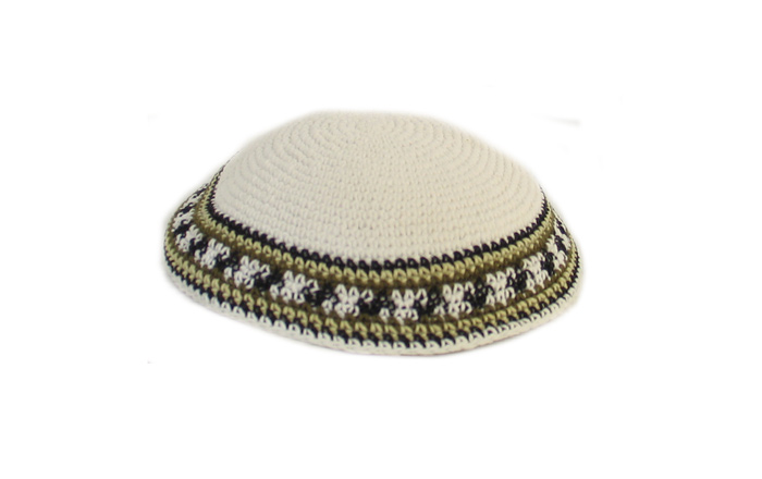 White Knit Kippot with khaki and black border