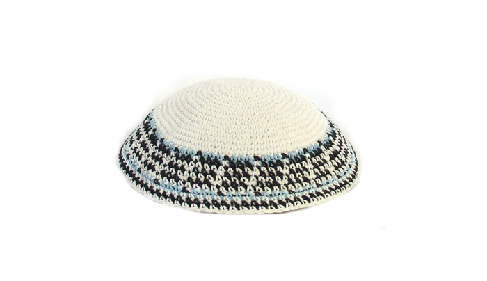 White Knit Kippot with black and light blue border