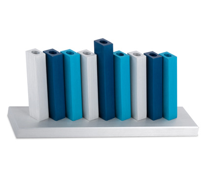 Adi Sidler Blue-Silver Kinetic Menorah