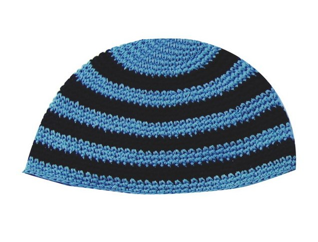 Blue and Black Striped Frik Kippah