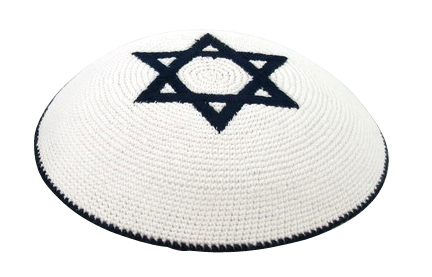 Navywhite Star of David Knit Kippot