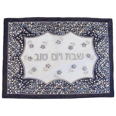 Blue and Silver Sequin Challah Cover