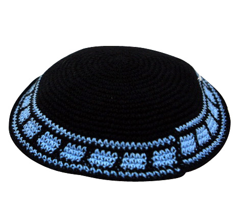 Navy Knit Kippot with light blue border