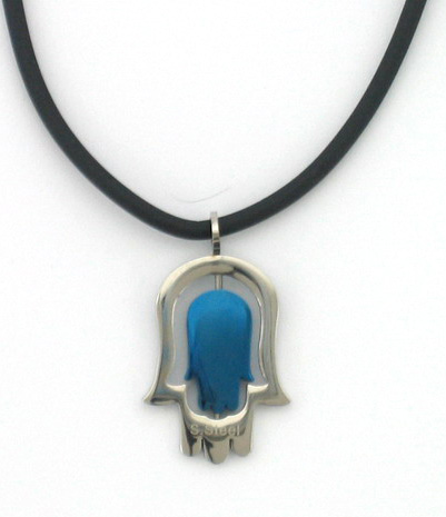 Stainless steel Blue Hamsa on Rubber Cord necklace