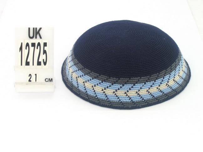 Navy DMC Knit Kippot with white and light blue border
