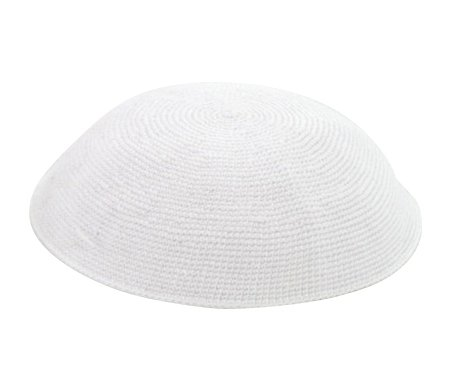 DMC knitted white kippah