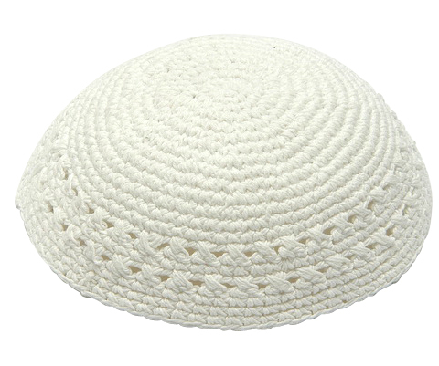 White Thick Knit Kippot 22 CM