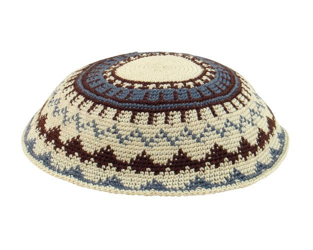 Beige DMC Knit Kippot with brown and powder blue design
