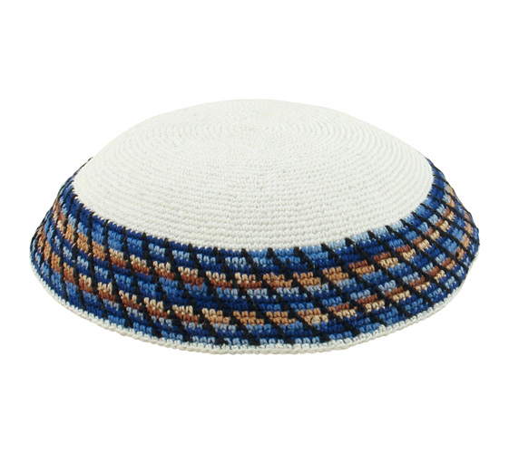 White DMC Knit Kippot with brown and blue border