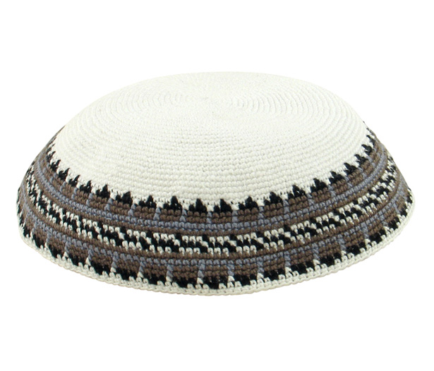 White DMC Knit Kippot with gray and black border
