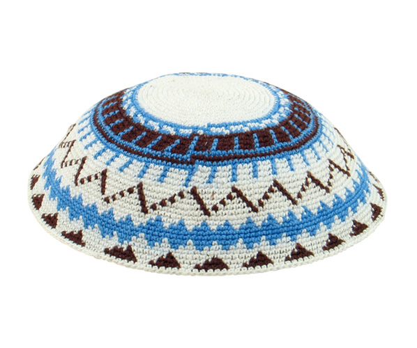 White DMC Knit Kippot with brown and blue design