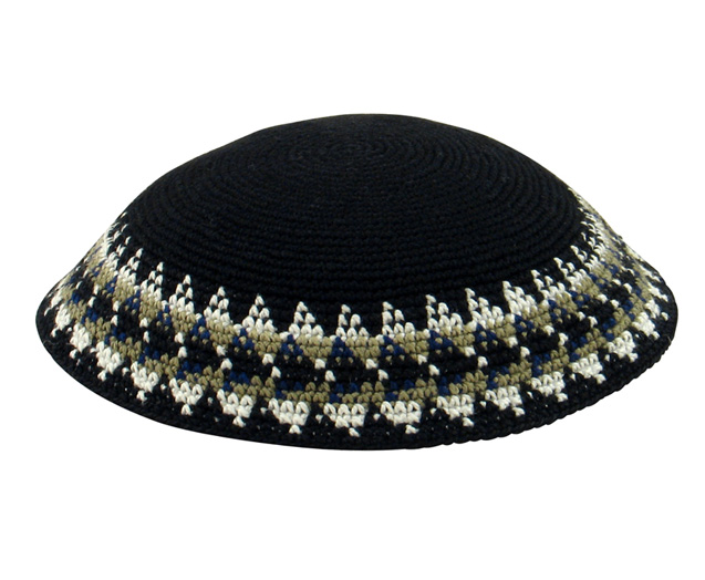 Black DMC Knit Kippot with white and gray border